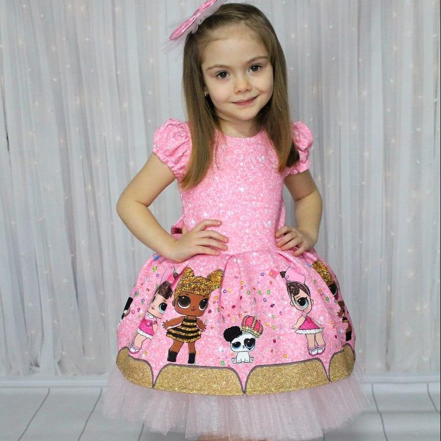 Pink Girl's Kids Dress فستان بناتي kız elbise